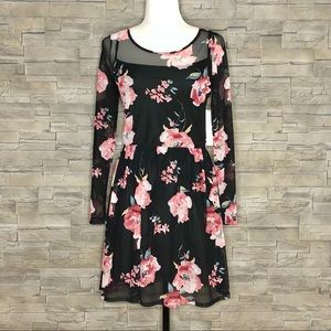 Design Lab black and pink floral dress, NWT